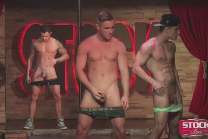 three naked male strippers