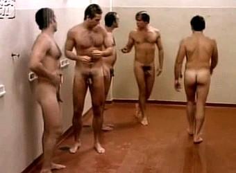 hairy men showering