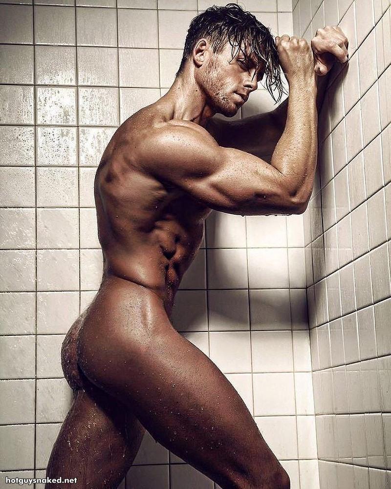 Steven Dehler in the shower